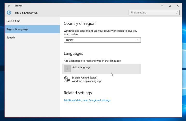 Windows 10 Time & Language