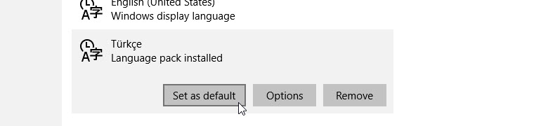 windows 10 language Set as default